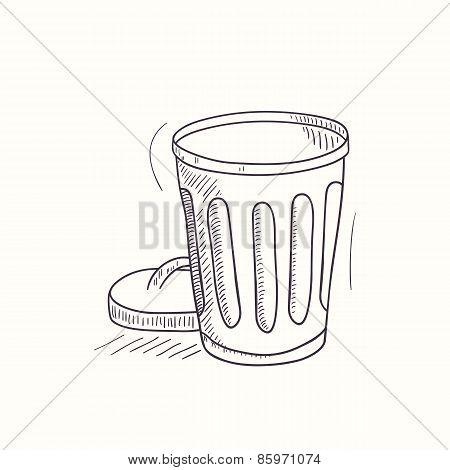 Sketched Empty Trash Bin Desktop Icon