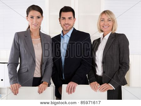 Portrait of three business people: man and woman in a team.