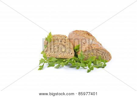 Fresh Homemade Natural Bread With Vegetables On White