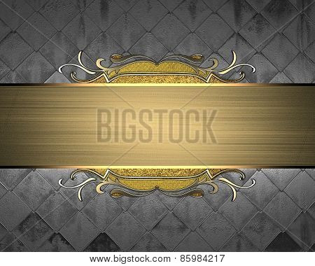 Metal texture with gold nameplate and gold trim