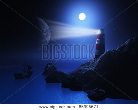3D render of a lighthouse with a ship on the ocean