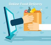 Online food delivery. Product and shopping, customer and receive. Vector illustration poster