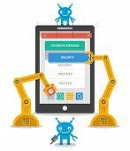 Application user interface development concept. Flat mobile construction software. Vector illustration poster