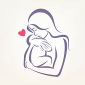 mom and baby stylized vector symbol outlined sketch poster