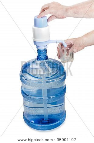 Carboy With Drinking Water, Hand Pump And A Glass In A Man's Hand