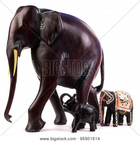 Wooden Elephant Figurine