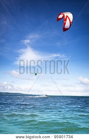 Kite boarder on surfing on beautiful sea