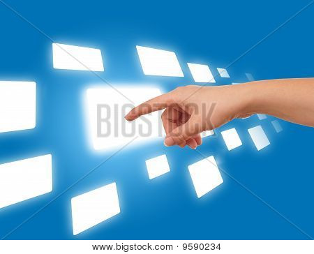 Hand On The Flow Of Several Buttons