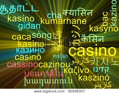 Background concept wordcloud multilanguage international many language illustration of casino glowing light
