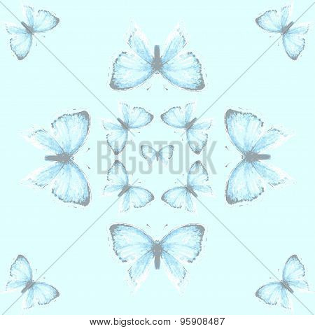 Beautiful seamless pattern with blue watercolor copper-butterfly on the blue background. Vintage vector illustration poster