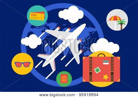 Travel by the plane vector illustration. Summer, Air and holiday symbols. Stock design elements.