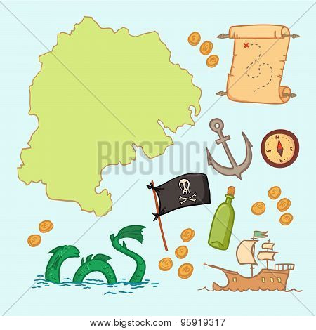 Hand drawn vector illustration - treasure map and design elements (mountains palmcompass anchor etc.) poster