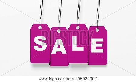 Pink hanging sales tags with Sale word isolated on white background
