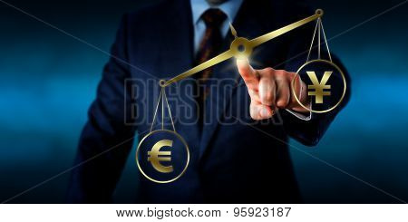 Torso of a businessman operating a virtual golden scale on which the Euro sign is outweighing the China Yuan symbol. Financial metaphor for global currency transactions and foreign exchange market. poster