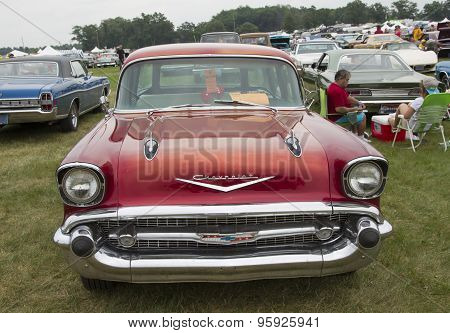 1957 Chevy Bel Air Wagon Car Front View