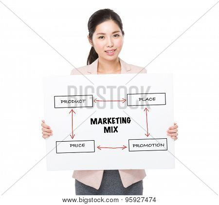 Businesswoman holding a placard showing marketing mix concept