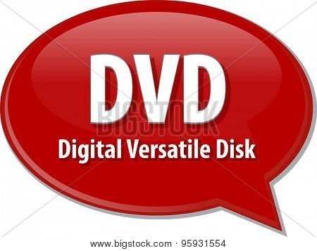 Speech bubble illustration of information technology acronym abbreviation term definition DVD Digital Versatile Disk