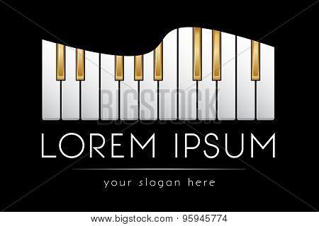 Logo template, gold piano keys, vector