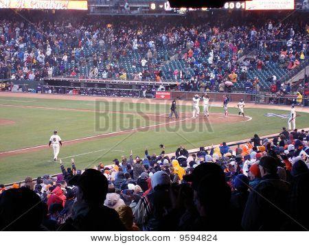 Giants Pablo Sandoval Celebrates Homerun With Edger Renteria As He Crosses Homeplate
