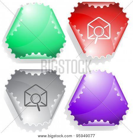 mail find. Vector sticker.