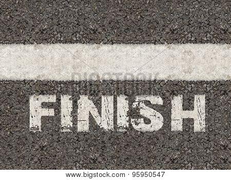 Finish Word On Asphalt Road