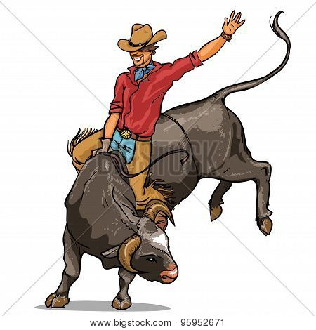 Cowboy riding a bull, Isolated