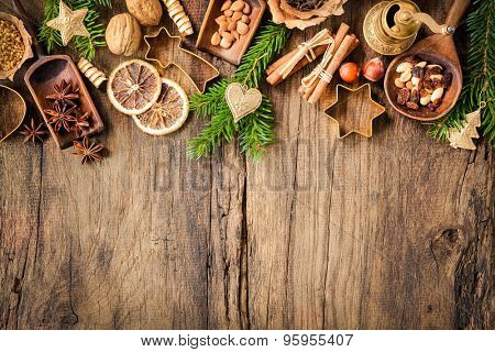 Baking concept background with spices and utensils for Christmas cookies