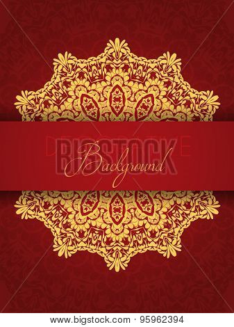 Decoratve background in red and gold