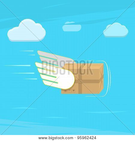 Fast delivery service flat vector illustration.