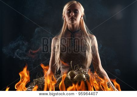 beautiful blond in the fire dragons with eggs in the nest