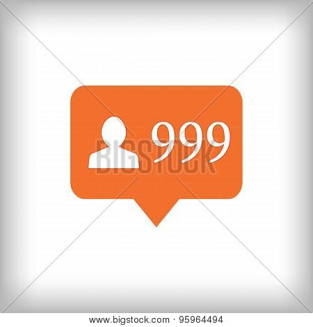 Followers Orange Icon. 999 Followers.