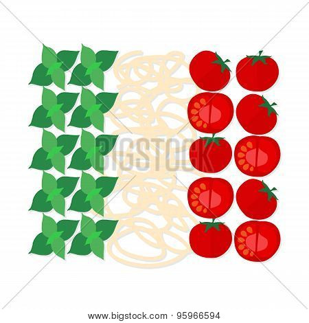 Italian colors made up of the typical ingredients of  cuisine