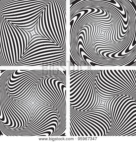 Torsion movement illusion. Op art designs set. Abstract vector illustrations.