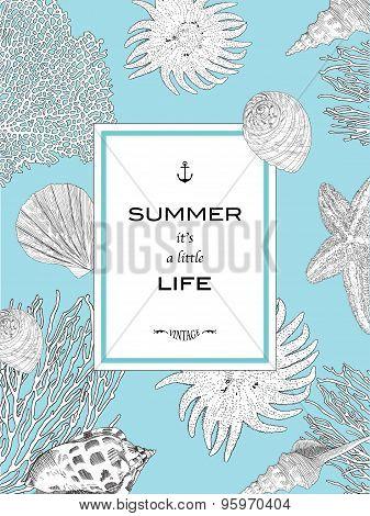 Card Summer It Is A Little Life. Underwater World.