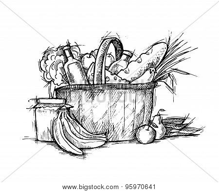 Hand Drawn Illustration - Shopping Cart With Food. Sketch. Vector.