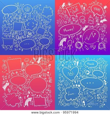 Hand Drawn Sketch Illustration - Speech Bubbles. Collection