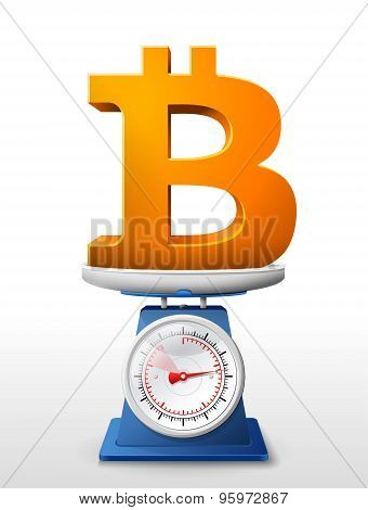 Bitcoin Sign On Scale Pan