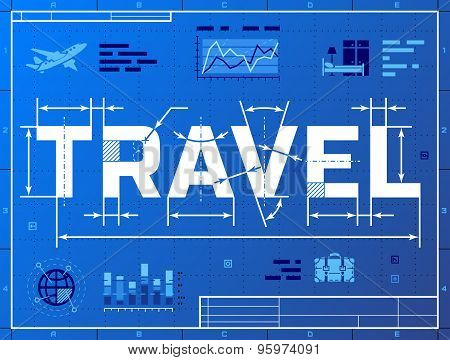 Word Travel Like Blueprint Drawing