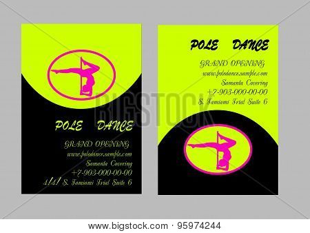 Pole Dance  Templates. Flyer and Business Card. Vector illustration