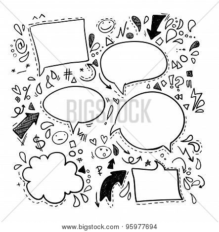 Vector Doodles - Speech Bubbles. Business, Finance And Success.