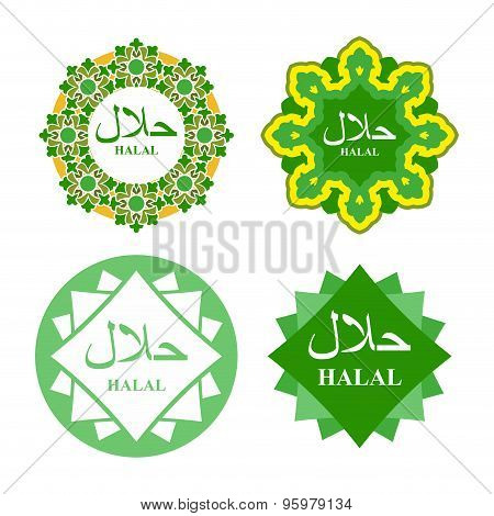 Logo Label For  Production Of Halal. Set Of Icons For National Products. Islamic Element Of Ornament