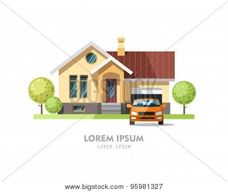 House facade. Traditional cottage.