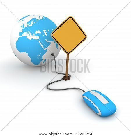 Surfing The Web In Blue - Blocked By A Yellow Warning Sign