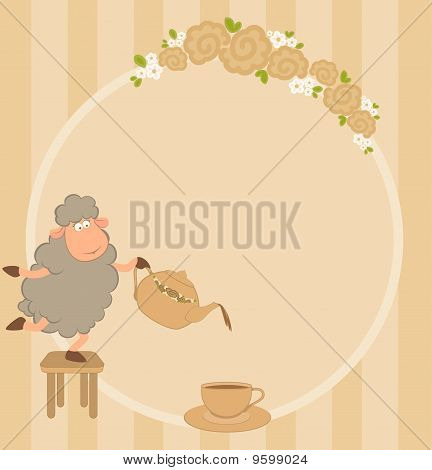 Illustration of cartoon sheep pours tea from a tea-pot in a cup poster