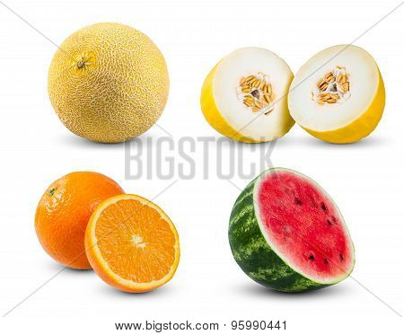 Set Collection Of Melon, Orange And Watermelon Isolated On White Background