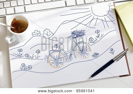 Sketch Made about a lovely bike