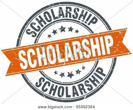 Scholarship Round Orange Grungy Vintage Isolated Stamp