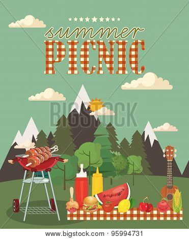 Vector family picnic illustration. Food and pastime icons.