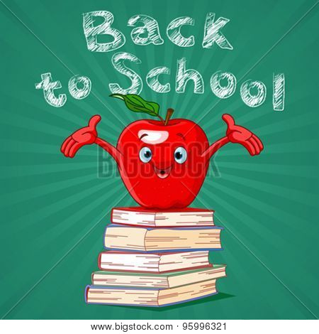 Back to school design of red apple on pile of books