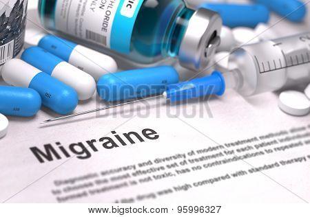 Migraine Diagnosis. Medical Concept. Composition of Medicaments.